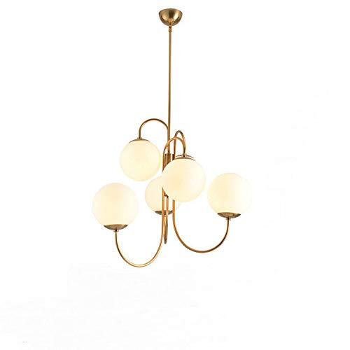 (EUJEID Modern Chandelier, 6-Light Metal Pendant Lighting Mid Century Gold Ceiling Light Fixture for Hallway Bar Kitchen Dining Room, Gold)
