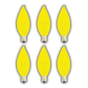 (6 PACK) 25 WATT FLAME TIP CANDELABRA BASE YELLOW BUG LIGHT INDUSTRIAL GRADE BULB SHATTERPROOF YELLOW BUG LIGHT -