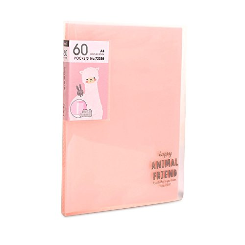 Ya Jin 60-Pocket Protector Presentation Book, Expanding Insert Test Paper File Folder Organizer, A4 Size, Pink ()