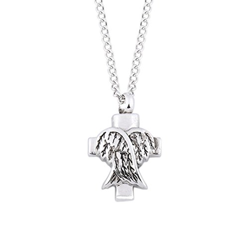 Clearance Women Necklace Daoroka Ashes Memorial Angel Wings Shaped Pendant Open The Urn Necklace Jewelry Gift (Silver) (Sterling Open Design Bamboo Silver)
