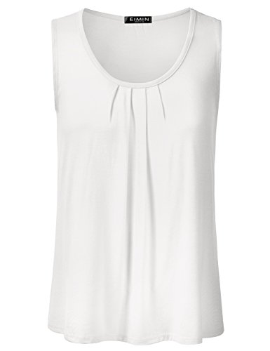 EIMIN Women's Pleated Scoop Neck Sleeveless Stretch Basic Soft Tank Top Ivory L
