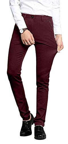 Plaid&Plain Men's Stretch Dress Pants Slim Fit Skinny Suit Pants 7104 Burgundy 30W30L