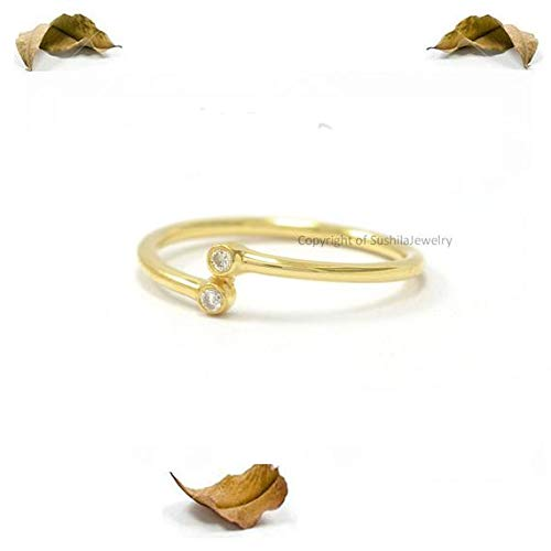 14k Solid Yellow Gold 0.04 ct Diamond Stackable Ring Handmade minimalist Ring Jewelry ()