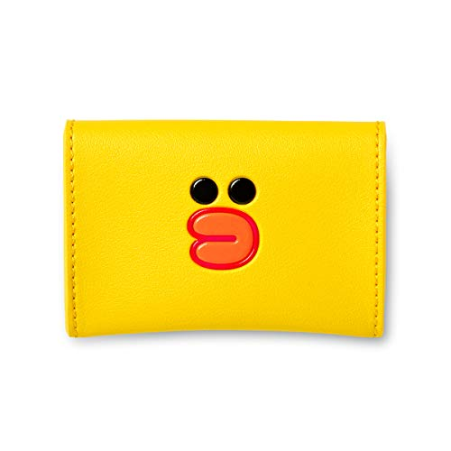Line Friends Business Card Holder - SALLY Character Design Faux Leather Organizer Case and Wallet, Yellow
