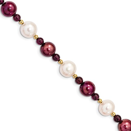 Diamond2Deal 14k Yellow Gold Garnet 10-11 White 9-10mm Cranberry Cultured Pearl Bracelet Size 7.5in