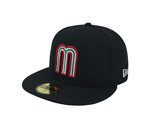 - New Era 59Fifty Hat Mexico World Baseball Classic (WBC) 2017 Fitted Headwear Caps (7 1/2, Black)