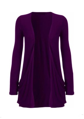 Hot Hanger Ladies Plus Size Pocket Long Sleeve Cardigan 16-26 : Color – Purple : Size – 16-18 LXL