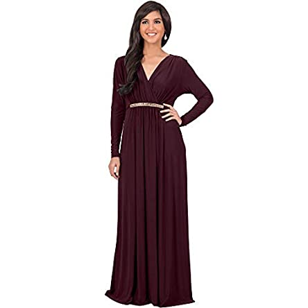 KOH KOH Sleeve Kaftan V-Neck Flowy Formal Winter Gowns