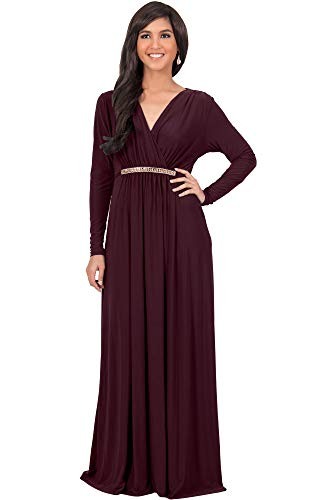 KOH KOH Plus Size Womens Long Sleeve Sleeves Kaftan V-Neck Flowy Formal Wedding Guest Fall Winter Evening Day Empire Waist Abaya Muslim Gown Gowns Maxi Dress Dresses, Maroon Wine Red ()