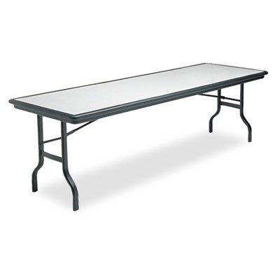 Iceberg Indestruc-Tables Rectangle Folding Tables-Folding Table, 96quot;x30quot;x29quot, Granite/Black Legs