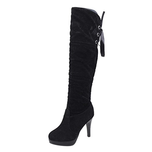 Inkach Womens Winter Boots | Thigh High Boots Shoes | High Tube | Thin High-Heel Riding Booties Black mI8TK