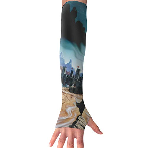 (YanHill Cooling Arm Sports Arm Sleeves Halloween Castle Moon Fight UV Sun Protection Arm Sleeves with Thumb Holes for Basketball, Football, Baseball, Cycling, Volleyball, Or Other)