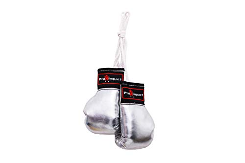 Pro Impact Mini Boxing Gloves - Miniature Punching Gloves - Holiday Christmas Ornament - Hanging Decoration or Souvenir Display - for Home & Car Use - 1 Pair (Silver) (Rearview Mirror Display)