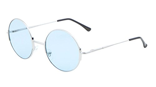 Womens Round Sunglasses Flat Lens Fashion (Blue-52, - Coachella Men