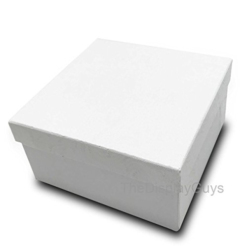 The Display Guys~ Pack of 100 Cotton Filled Cardboard Paper White Jewelry Box Gift Case -White swirl (3 3/4x3 3/4x2 inches #34)
