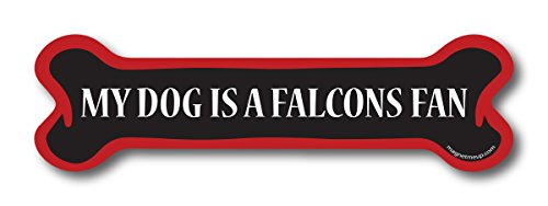 Falcon Tackle (My Dog is a Falcons Fan Dog Bone Car Magnet Decal- 2 x 7 Dog Bone Heavy Duty for Car Truck SUV Waterproof)
