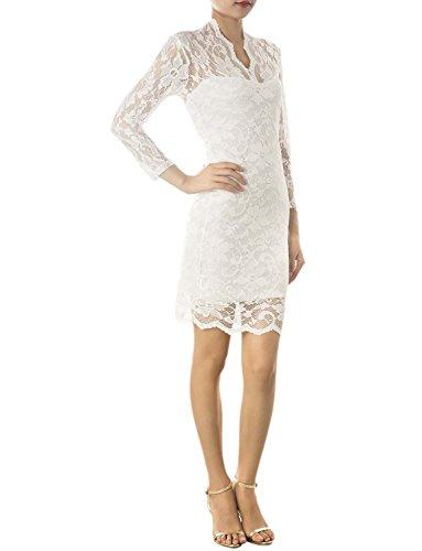 iB-iP Mujer Hombro Escarpado Floral Encaje De Mini Vestido Amoldeado Al Cuerpo Blanco