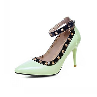 Talones de las mujeres de cuero Primavera Otoño Comfort oficina y carrera del vestido ocasional de la hebilla de tacón de aguja azul blanco verde almendra Almond