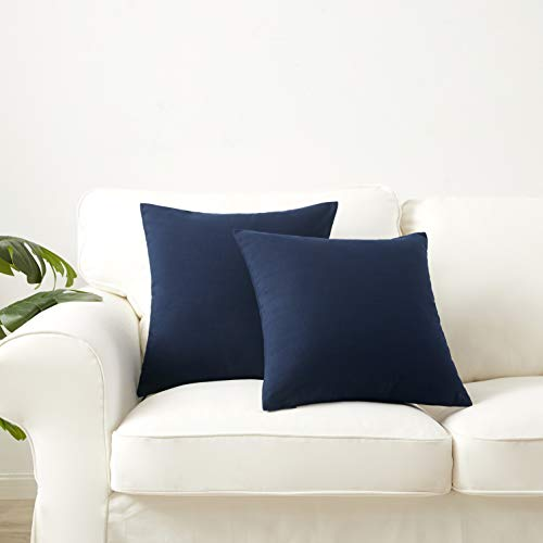 "Longhui bedding Linen Blend Throw Pillow Cover, Navy Blue 18"" x 18"" Decorative Pillows, Set of 2, Zippered Square Sofa Couch Bed Cushion Pillowcases"