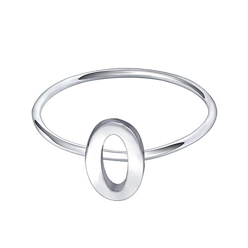 AoedeJ 925 Sterling Silver Stackable Initial Letter Rings Capital Letter Ring Charm Initial Band for Women (O, 6)