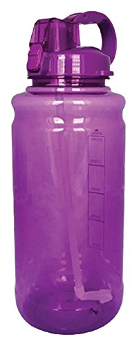 EXQUIS 101 OZ Tritan Outdoor Workout Water Bottle with Carry Handle, Locking Lid & Pop Up Straw, Purple, ()