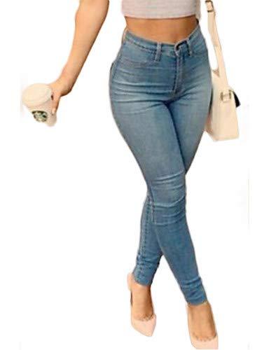Yfltz Pantaloni Da Donna Jeans Chic Blue Tinta Unita rrqw1dUx8