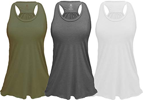 Epic MMA Gear Flowy Racerback Tank Top, Regular and Plus Sizes, Pack of 3 (2XL, Army/Grey/White)