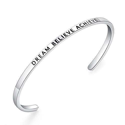 BESTTERN Inspirational Bracelet Cuff Bangle Mantra Quote Keep Going Stainless Steel Engraved Motivational Friend Encouragement Jewelry Gift for Women Teen Girls Sister (Thin-Dream Believe Achieve)