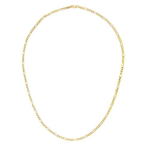 Revoni Bague en or jaune 9carats-8,6G-Collier Femme-Maille Figaro, 61cm/61cm Longueur, Largeur: 3mm