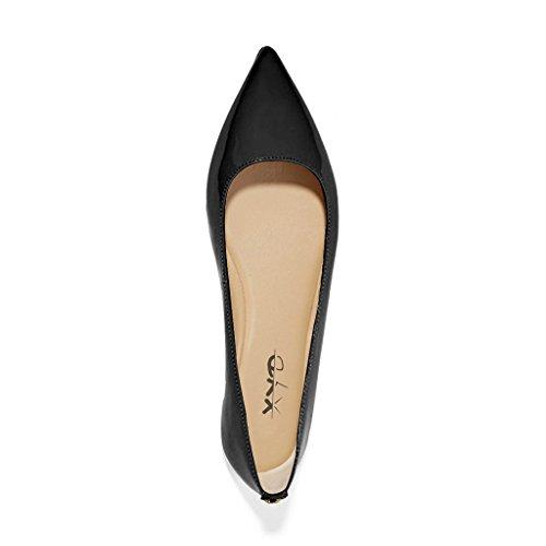 Xyd Femmes Occasionnels Bout Pointu Appartements Glisser Sur Le Ballet En Cuir Verni Conduite Loafer Robe Chaussures Noir