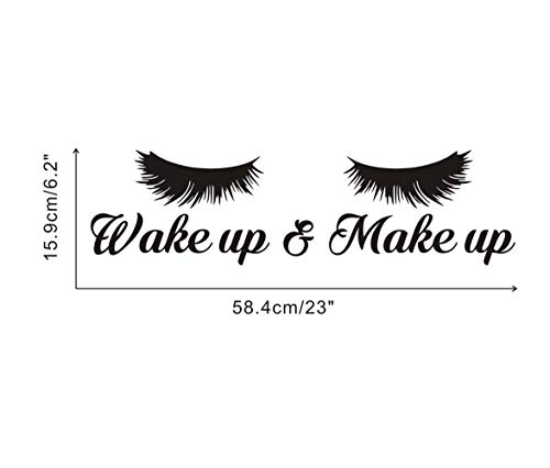 Wake Up &Make Up Wall Decal Fashion Eyelash Wall Sticker Women Beauty Quote Sticker for Bedroom Decoration 4