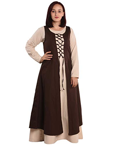 byCalvina - Calvina Costumes Leandra Medieval Viking LARP Pirate Renaissance Dress Overdress - Made in Turkey, Brown, 2XL ()