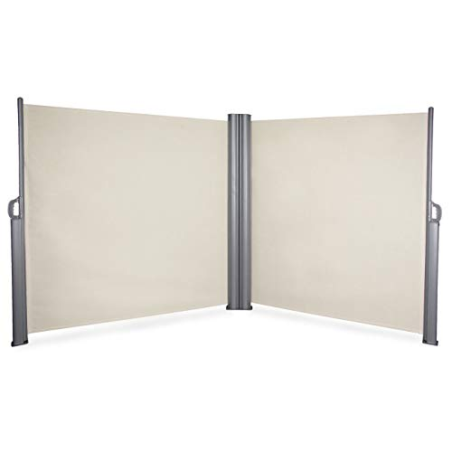 Cypress Shop Retractable Double Side Awning Privacy Divider Folding UV Screen Wind Sunlight Protection Block Patio Outdoor Garden Sunshade 19.6'x5.2' Roll Home Garden Furniture Beige