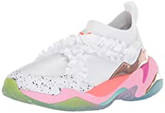 Progressive fashion-forward running silhouette chunky sole unit with bright speckled midsole, color-blocked TPU inserts and thick translucent rubber color fading outsole shiny neoprene upper with knitted collar for sock-like fit elasticated f...