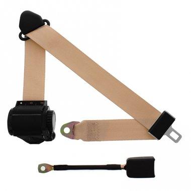 3-Point Retractable Lap & Shoulder Seat Belt, Tan, with End Release - End Buckle Belt