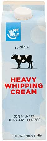 Amazon Brand - Happy Belly Heavy Whipping Cream, Ultra-Pasteurized, Kosher, Quart, 32 Ounces