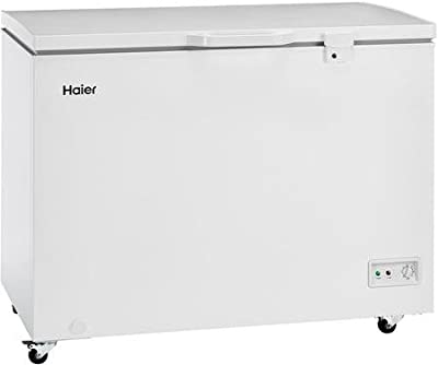 "Haier HFC9204ACW 44"" Chest Freezer with 9.2 cu. ft. Capacity Up to 325 lbs Storage LED Lighting LED Lighting and Security Lock in"