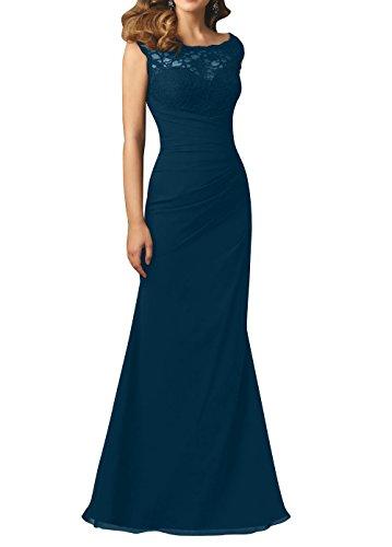 Brau Abschlussballkleider Brautmutterkleider Jugendweihe Dunkel Brautjungfernkleider Kleider La Abendkleider Spitze Blau mia Elegant Chiffon Rw54AqxHU