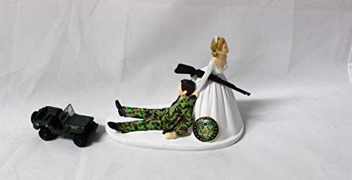 Wedding reception Army Military Camo Groom Jeep Cake Topper ()