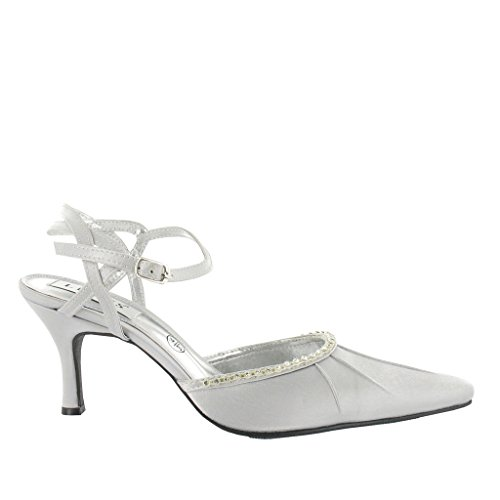Ladies Closed Toe Sandal with Pleating and Diamante Trim. Lt Grey/Silver eKJ22zST