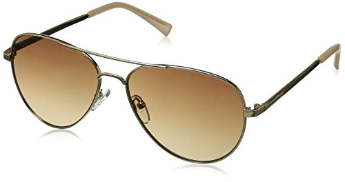 Calvin Klein R169S Aviator Sunglasses, Gold, 58 ()