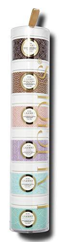 LALICIOUS Extraordinary Whipped Sugar Scrub Tower - Pure Cane Sugar Body Scrub Gift Set, Travel Size Exfoliating Scrubs for Women (6 Count / 2 Ounces Each)
