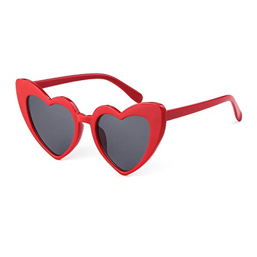 BOLD Retro Heart MOD Thick Frame Clout Goggles Cat Eye Lens Sunglasses (Grey lense Red frame, 50)