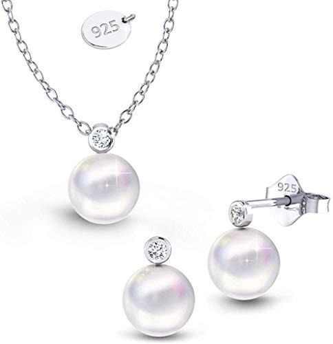 Anajis Kristallperlen Ohrringe Halskette Schmuckset Symbol Schönheit Weiblichkeit Luxus Silber Perlen mit Kristall in Geschenkbox mit Pflegetuch Feines Design