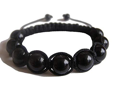 ZENstore Black Tourmaline Healing Yoga Shamballa Knotted Bracelet Certified Natural Gemstones Root Base Chakra Protection Grounding Emotional Stability