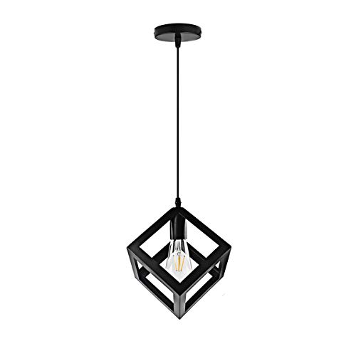 Single Pendant Lighting with Metal Square Hanging for Kitchen Island Farmhouse Industrial Vintage Lamp Fixture with Black Finish for Dining Room Bedroom Kitchen by Xilicon