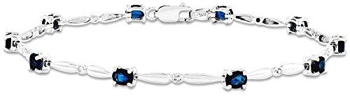 Diamond & Sapphire Bangle Bracelet (ICE CARATS 14k White Gold Diamond Sapphire Gemstone Bracelet 7 Inch Fine Jewelry Gift Set For Women Heart)
