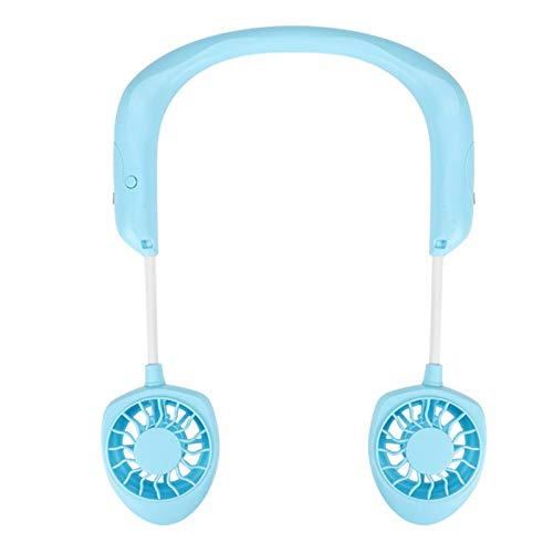(TANGON Portable Handfree Fan witn Dual Fan, USB Rechargeable Battery Operated Electric Fan Hanging On The Neck Quiet Fan for Stroller, Camping, Travel, Office, Outdoor (Blue))