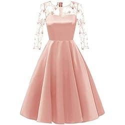 Mysky Fashion Women Vintage Princess Floral Lace Cocktail Party Dress Ladies Elegant Solid A-line Swing Dress