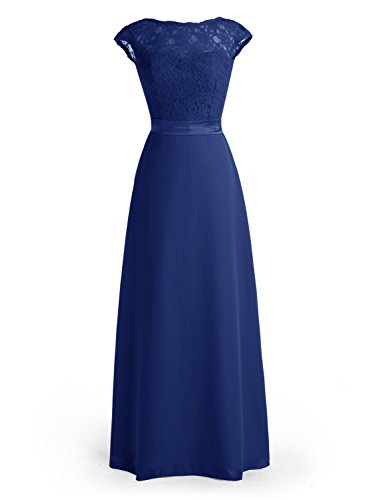 Wedtrend Women's Cap Sleeved Bridesmaid Dress Floral Lacey Bodice Maxi Prom Gown WT10101RoyalBlue20W ()